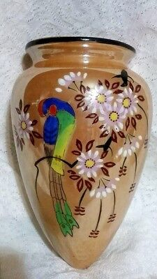 Vtg  Made In Japan Luster Ware Hand Painted Bird / Flowers Wall Pocket / Vase