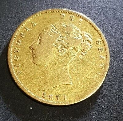 Great Britain 1/2 Half Gold Sovereign 1871-S VF-XF Condition Rare Gold Coin