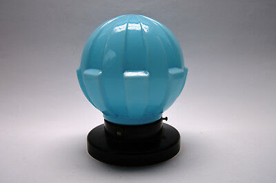 VINTAGE CZECH ART DECO 1930's Blue Glass CEILING LIGHT LAMP Fixture