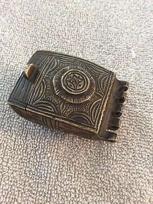 A Rare Old Solid All Brass Decorated Snuff Box Ornate For A Belt