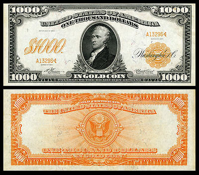 Nice  Crisp Unc.1907 $1,.000 Gold Certificate Copy Read Description