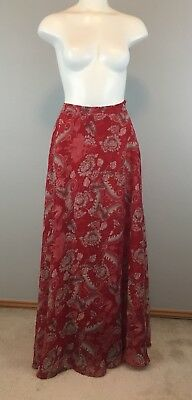 cf4874f67 NWT LUCY PARIS Long Maxi Skirt Women's Size Large Red Paisley Print ...