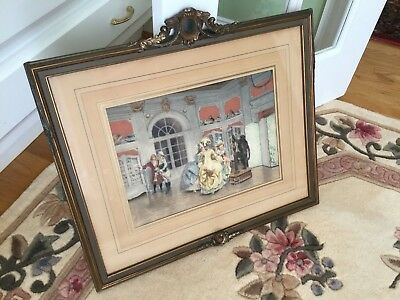 Antique French Gesso and Wood Frame Lucius Rossi Hand Colored Lithograph