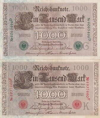 Germany, 1000 Mark 1910 red and green seal  (B218)