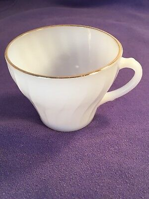 Vintage Anchor Hocking Fire King White Swirl Milk Glass Gold Rim Cup With Handle