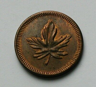 (Canada) Tree Leaf Copper-Metal Toy Token/Coin - 1 PLAY MONEY - Cent-Size (20mm)