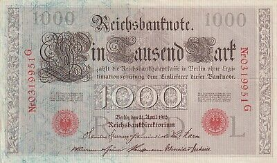 Germany, 1000 Mark 1910 Red seal  (B355)