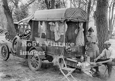 Ford Model T Car Photo Family Truck Camper, 1923   8X10
