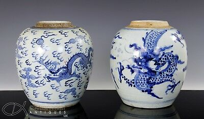 Two Antique Chinese Blue And White Porcelain Jars 18C