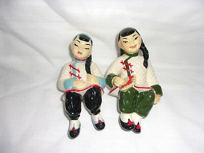 Pair Ceramic Arts Studio Chinese Boy & Girl Shelf Sitters