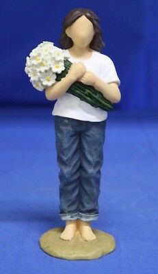 """Forever in Blue Jeans 6"""" Resin Figurine Thinking of You #18414 Women w/ Flowers"""