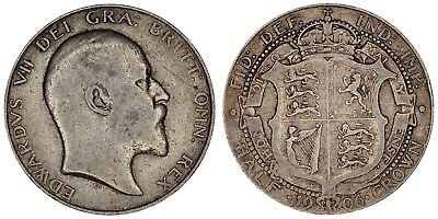 1906 Edward VII silver halfcrown coin of Great Britain