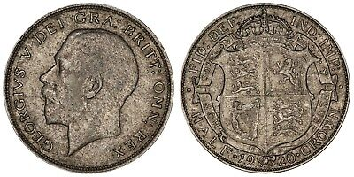 1920 George V halfcrown silver coin of Great Britain