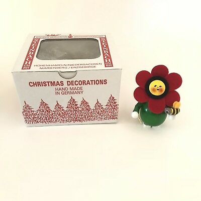 Steinbach Handmade German Wooden Ornament Red Green Flower Bee With Box