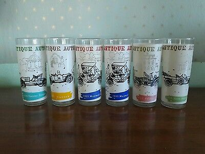 vintage antique automobile frosted glass tumblers set of 6