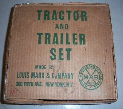 Old Marx Tractor And Trailer Set In The Box Complete Works Great Very Rare 1930s