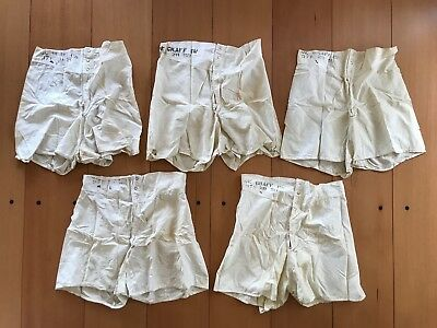 LOT OF 5 VINTAGE US NAVY MILITARY STAMPED BOXER SHORTS UNDERWEAR 40s 50s 30 32