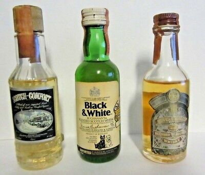 3 Vintage Miniature Scotch Liquor Mini Bottle Tax Stamp Strip Sealed
