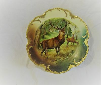 ANTIQUE ROYAL MUNICH HAND PAINTED  DEER STAG PLATE MARSEILLE BAVARIA Z S &Co.