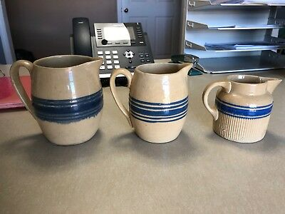 Lot of 3 Antique Vintage Yellowware Yellow Ware blue band Pitchers
