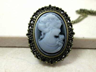 Vintage Antique Gold Bronze Victorian Lady Gray & White Cameo Watch Necklace