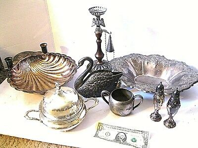 Vintage Silver Plate Mixed Lot  Creamer, Bowl, Tray -