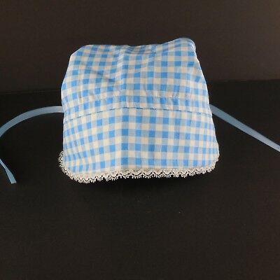 Vintage 1960s Child Infant Doll Bonnet Blue Checked Gingham and Lace Hand Made