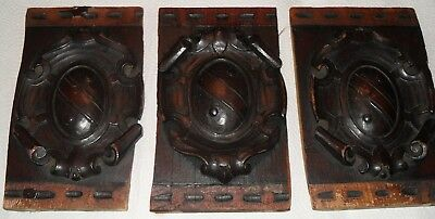3 Antique Stained Wood Carved Crest COA Furniture Salvage Ornaments Appliques