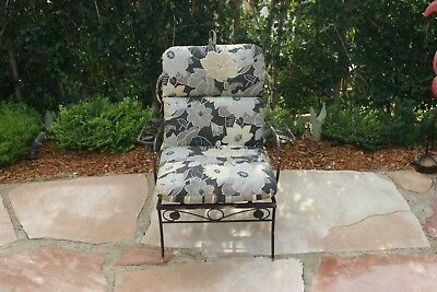 Vintage Salterini Classic Wrought Iron Patio Chair with Cushion