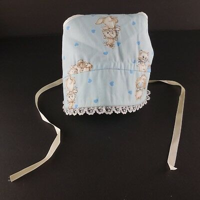 Vintage 1960s Child Baby Doll Sun Bonnet Blue Kitty Cats and Lace Hand Made
