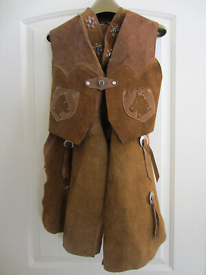 Vintage Childrens Western Leather Riding Chaps with Matching Vest Kids