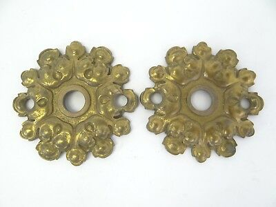 "Set of Two Brass Metal Doorknob Plates Finial Mounting Plates Hardware 3"" Parts"