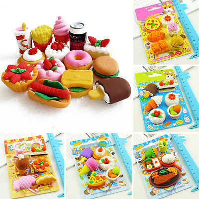 6X/Set Cute Food Rubber Pencil Eraser Set Stationery Novelty Children Party Best