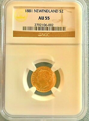 1881 Newfoundland $2.00 Gold Gold Coin Ngc Certified