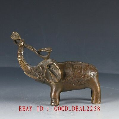 Old Chinese Bronze Hand Made Carved Elephant With Ruyi Statue HT113