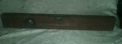 Estate Vintage Antique Stanley Sweetheart # 0  Brass Bound Wood Plumb Level 24""