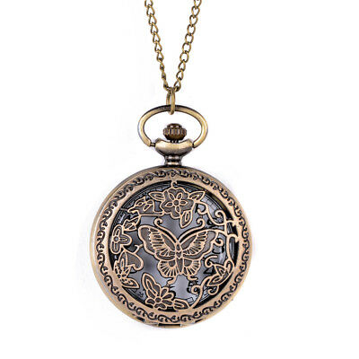 Vintage Style Antique Gold Bronze Large Pocket Watch Pendant Necklace butterfly