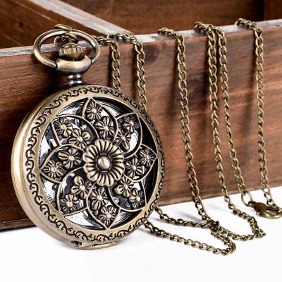 Vintage Style Antique Gold Bronze Large Pocket Watch Pendant Necklace Flower Sun
