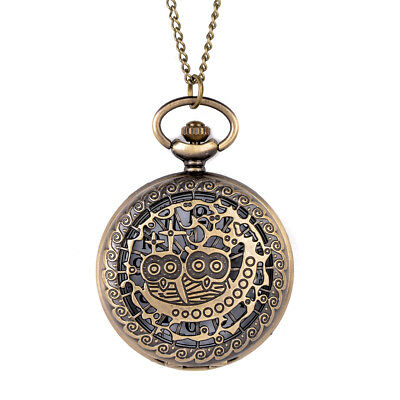 Vintage Style Antique Gold Bronze Large Pocket Watch Pendant Necklace Owl Moon