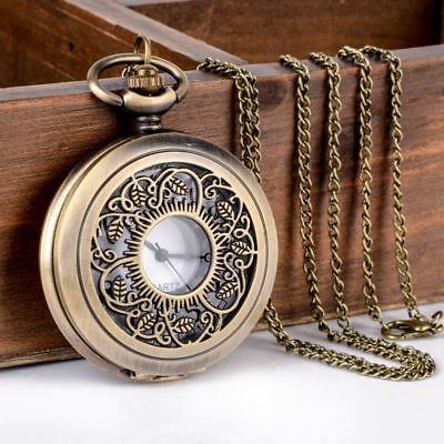 Vintage Style Antique Gold Bronze Large Pocket Watch Pendant Necklace Leaf Sun