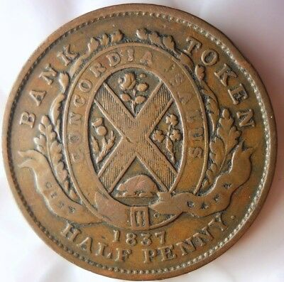 1837 CANADA (MONTREAL) 1/2 PENNY - High Quality Vintage Coin - + Value- Lot #J16