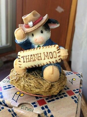 Mary Mary Had A Farm Thank Moo Cow with Hat Stamper by Enesco #261653 New in Box