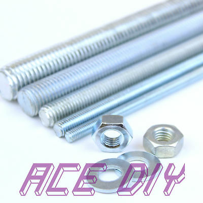 BZP Threaded Bar + Full Nuts & Washers Mild Steel M3 - M30 Various Lengths Rod