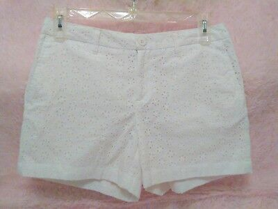 Faded Glory White Floral Eyelet Shorts Womens Size 10