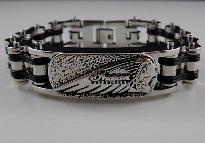 Indian Motorcycles Mens Bracelet Heavy Stainless Steel V2 Chief Scout Patch Pin