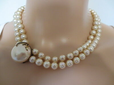 Vintage Sterling Silver Oversized Faux Pearl Look Of Fine Jewelry Gold Necklace