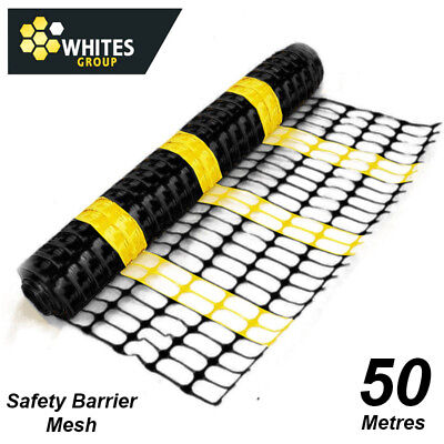Safety Barrier Mesh Fence Black & Yellow Striped - 1 metre high x 50 metre roll.
