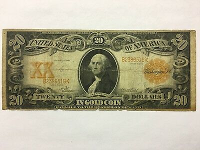 1906 $20 Large Size Gold Certificate Vernon & Treat Gold Seal U.s. Paper Money