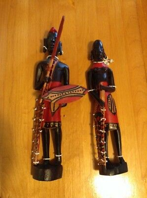 Pair of African Wood Carved Man & Woman Tribal Statues Art Figures