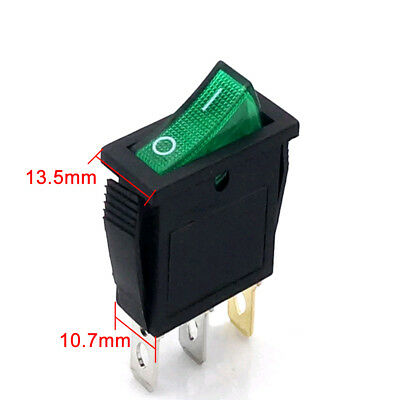 Rectangle On/Off Large Rocker Switch LED Lighted Car Dash Boat 3-Pin SPST Solid